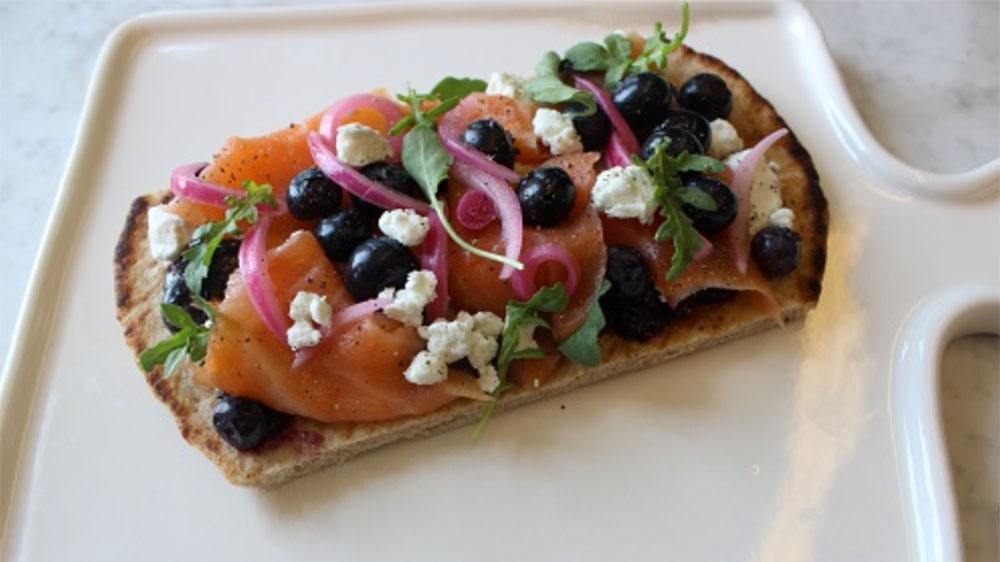 Salmon Flatbread with Blueberry Jam